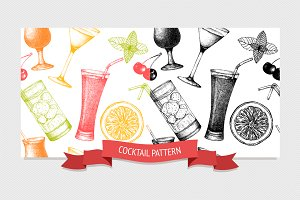 Vector cocktail pattern