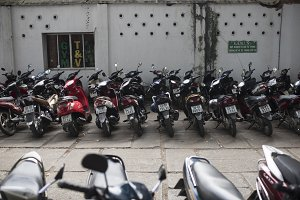 Motor Bikes Parked in Vietnam