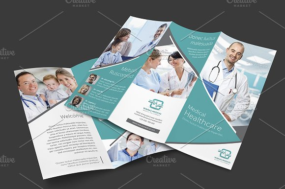 Medical Trifold Brochure Brochure Templates Creative Market - Healthcare brochure templates free download