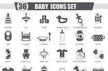 36 Vector Baby black icons set.