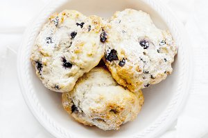 Top view of blueberry scones
