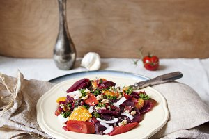 Fresh beet, orange salad with dill