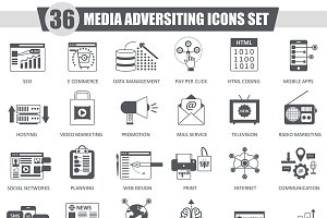 36 Media adversiting black icon set