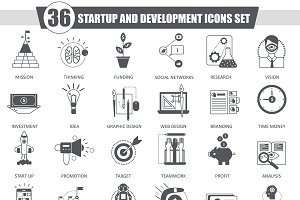 36 Startup & development black icons