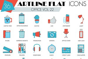 36 Office flat line icons set.