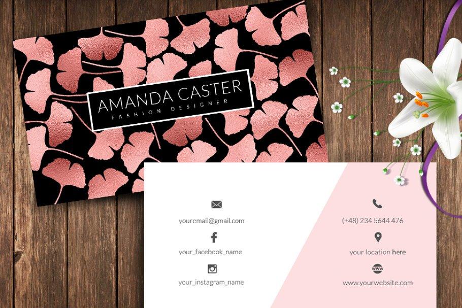 Rose Gold Ginkgo Leaves Name Card Creative Photoshop Templates Creative Market