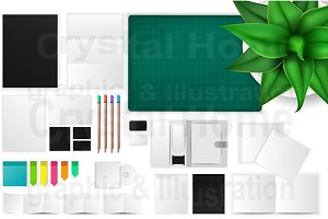 Office paper and workspace icon set