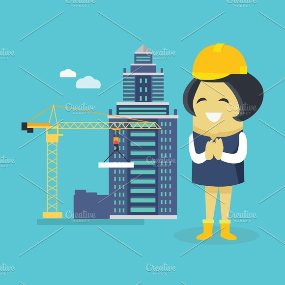 Female Engineer and Building