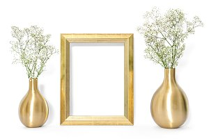 Golden frame and flowers