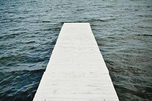 Empty White Wooden Pier