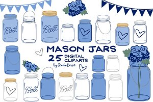 Navy Blue Mason Jars Cliparts