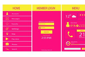 Mobile interface design pink