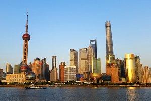Shanghai, China. Skyline of Pudong.