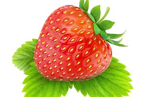 Isolated strawberry on a leaf