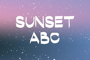 Sunset ABC - hand drawn alphabet