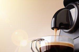 Espresso machine, beige background