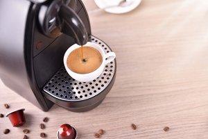 Machine making coffee elevated