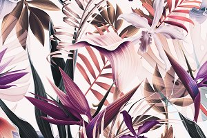 Tropical flowers and leaves vintage