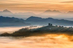 Dramatic landscape at sunrise