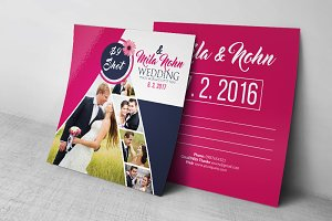 Wedding Invitation Postcard Template