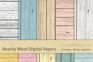 Beachy Wood Digital Papers