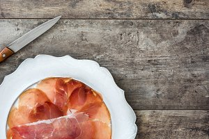 Spanish serrano ham on a plate