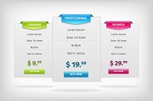 Pricing banners plans table screen