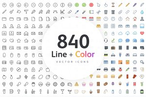 1000 Line + Color Vector Icons