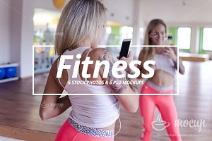 6 Mockups & 6 Photos iPhone Fitness