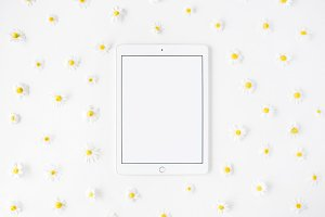 Chamomile pattern and tablet