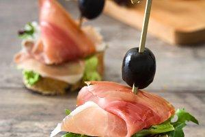 Spanish serrano ham skewers