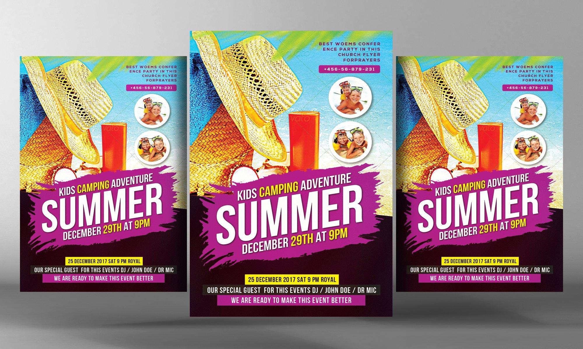 Kids Summer Camp Flyer Template Flyer Templates Creative Market – Summer Camp Flyer Template
