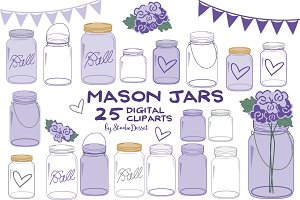 Purple Mason Jars Cliparts