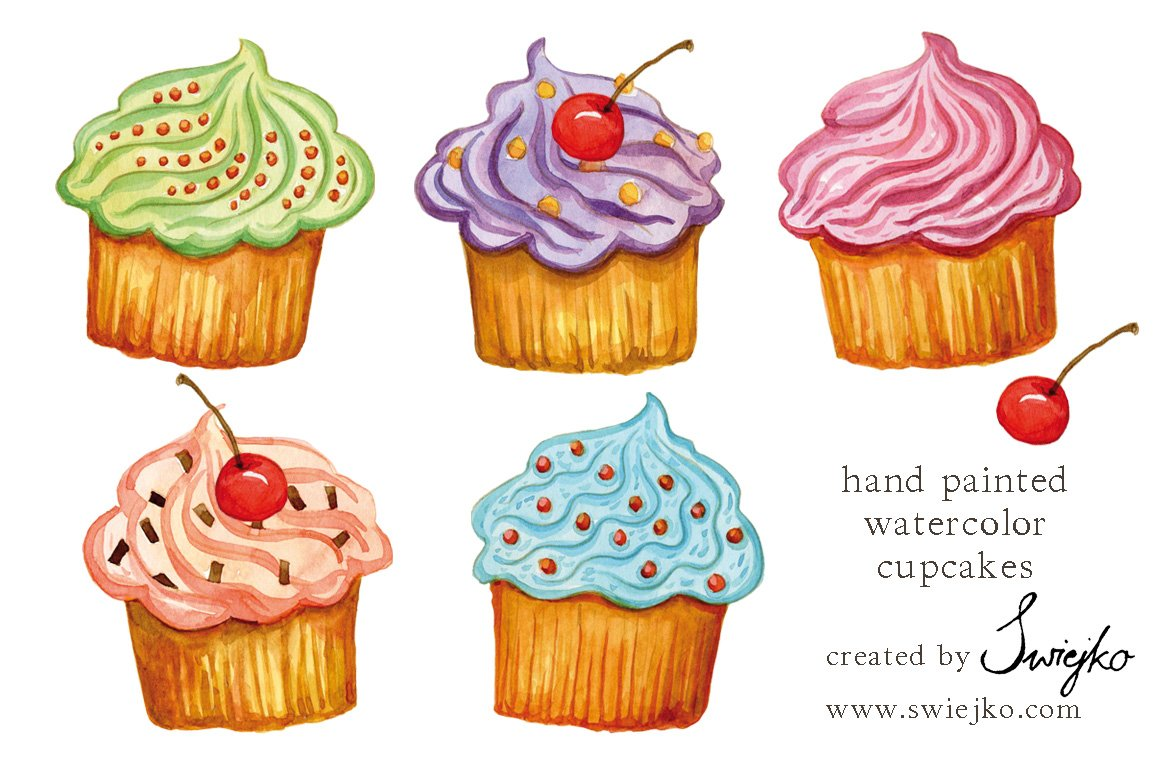 Watercolor Cupcakes Illustrations Creative Market