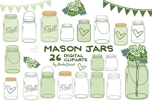 Green Mason Jars Cliparts