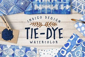 Tie-Dye watercolor patterns pack