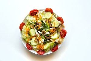 Dish of mix salad isolated