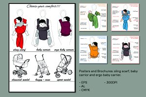 Sling scarf, Baby carriers (vector)