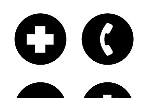 Ambulance black icons set. Vector