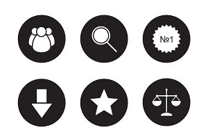Business black icons set. Vector