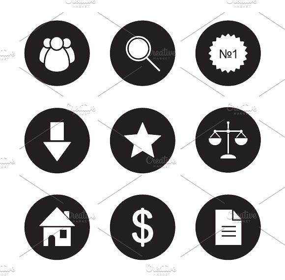 Business black icons set. Vector - Icons