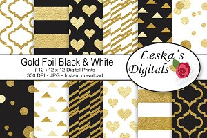 Black and Gold Digital Paper Pattern