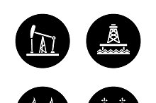 Oil industry black icons set. Vector