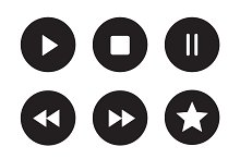 Multimedia black icons set. Vector