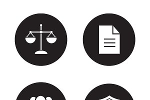 Jurisprudence and law icons. Vector