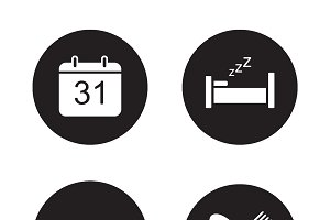 Day planning black icons set. Vector