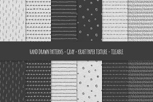 Gray Kraft Paper Seamless Patterns