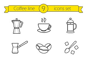 Coffee linear icons set. Vector