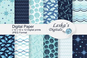 Nautical Sea Digital Papers
