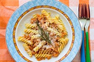 Fusilli pasta with squash